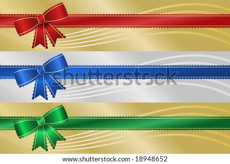 Three frilly Christmas holiday ribbon banners with metallic background and abstract wave.