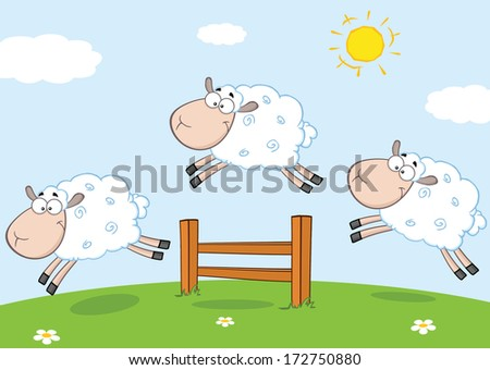 Three Funny Sheep Jumping Over A Fence. Vector Illustration - stock vector