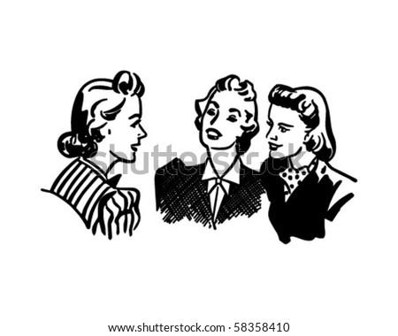 Three Gals Chatting - Retro Clip Art - stock vector