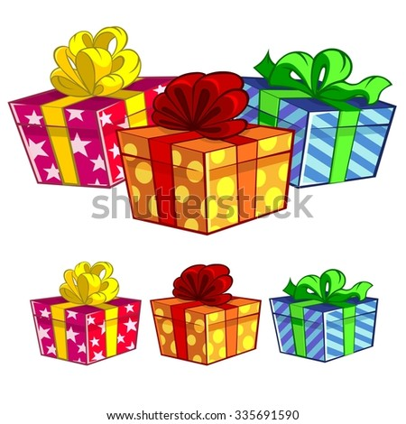 Three gift boxes - stock vector