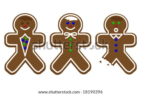 Three gingerbread men with a bite out of one. - stock vector