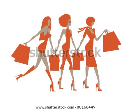 Three girls of different nationalities to do shopping