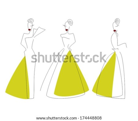 Three girls stylized, linear image on a white background - stock vector