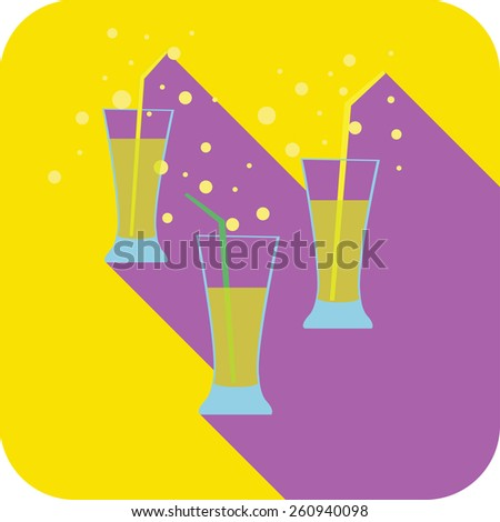 Three glasses cocktails flat design stylized vector party drink icon, The best for your design, flyers, coasters, prints - stock vector