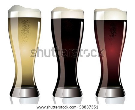 Three Glasses of different beer.