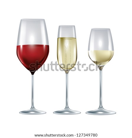 three glasses with wine and champagne isolated on white - stock vector