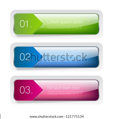 Three glossy vector banners  - One Two Three steps - stock vector