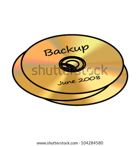 Three gold backup CD/DVD/RW backup discs. - stock vector
