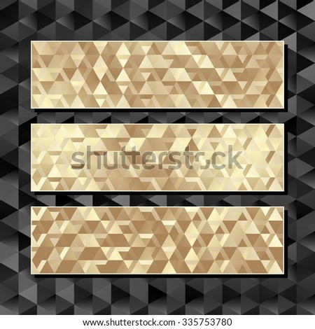 three golden banners with texture - stock vector