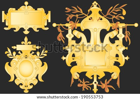 Three golden frames with olive branch and swirls