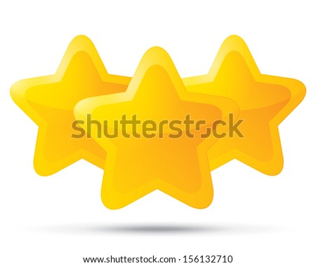 Three golden stars. Star icons on white background. Five-pointed shiny star for rating. Rounded corners. Eps 10. - stock vector