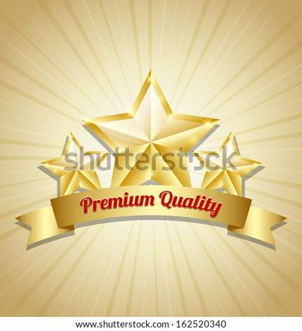 Three golden stars symbol with Premium quality ribbon - stock vector