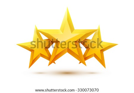 Three Golden Stars with Reflections. Design Elements for Your Graphic Design. Vector Illustration. golden star with reflection on white background. Vector illustration. - stock vector