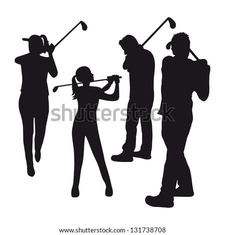 three golfers over white  background. vector illustration - stock vector