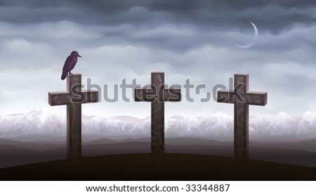 Three graves and a raven sitting on the tombstone (other landscapes are in my gallery) - stock vector