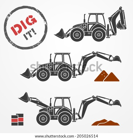 Three gray excavator silhouettes with dirt and barrels - stock vector