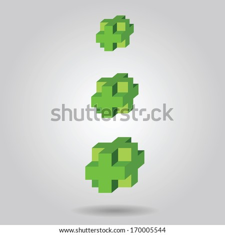 three green 3 d cross. can be used for infographics / numbered banners / horizontal cutout lines / graphic or website  - stock vector