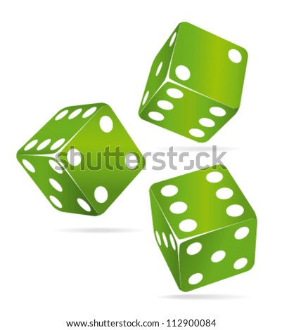 Three green rolling dices. Chance concept. - stock vector