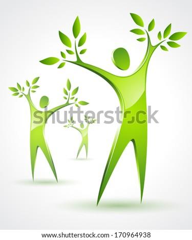 Three Green Tree People  - stock vector