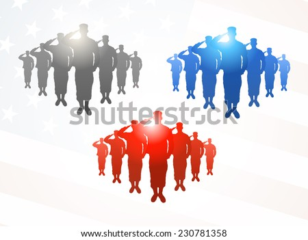 Three  groups of saluting soldiers in grey, blue and red colors on american flag background - stock vector
