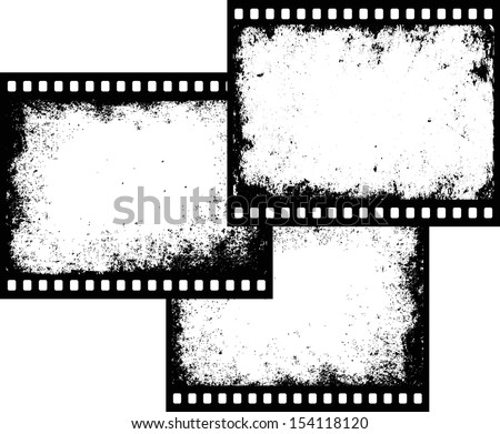 three grunge film frames with transparent space insert - stock vector