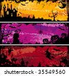 Three grunge Halloween frame with bat, pumpkin, witch, ghost, element for design, vector illustration - stock photo
