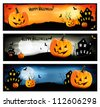 Three Halloween banners. Vector. - stock photo