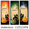 Three Halloween banners  Vector - stock photo