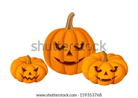 Three Halloween pumpkins (Jack-O-Lanterns). Vector illustration. - stock vector