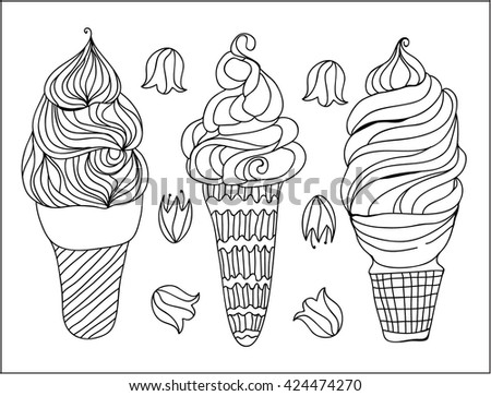 Three hand drawing ice cream - stock vector