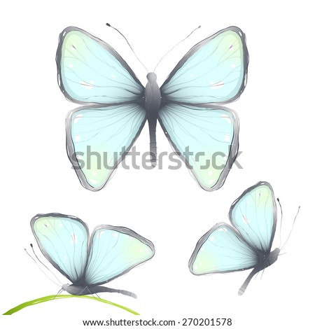 Three Hand Drawn Delicate Blue Butterflies.Blue butterflies flying side and front view. Vector illustration EPS10. - stock vector
