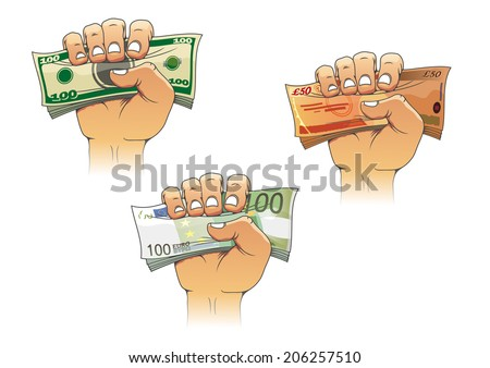 Three hands grasping money with dollar, euro and pound banknotes, cartoon illustration logo, for business concept design - stock vector