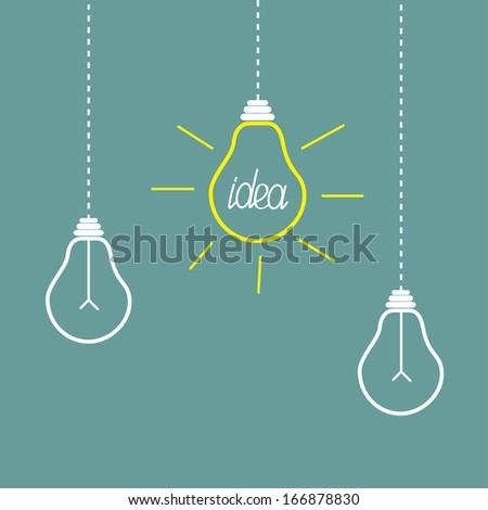 Three hanging yellow light bulbs. Idea concept. Vector illustration. - stock vector