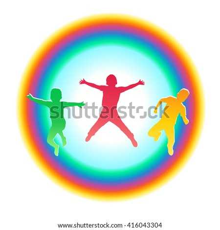 Three happy boys jumping in a rainbow circle. Abstract composition. Colorful silhouettes of group children. Vector illustration. - stock vector