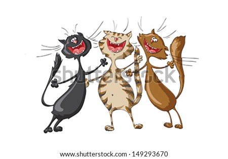 Three happy cats singing cheerful song on isolated white background. Illustration, vector - stock vector