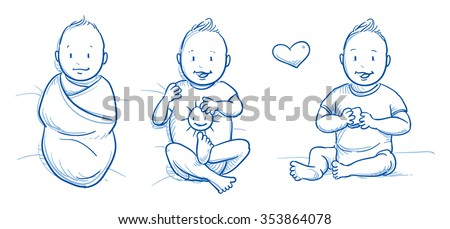 Three happy smiling babies in different ages 0-1 year. In sleeping bag, lying and sitting. Hand drawn cartoon vector illustration. - stock vector