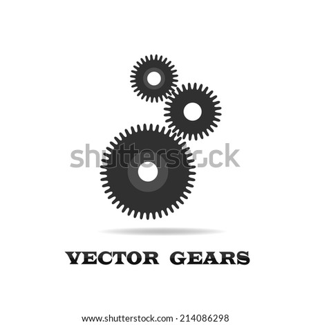 Three heavy gear on a white isolated background. The design element. - stock vector
