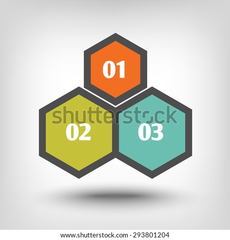 Three hexagons as sequential steps of - stock vector