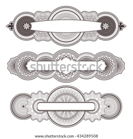 three highly detailed guilloche panels/design elements - stock vector