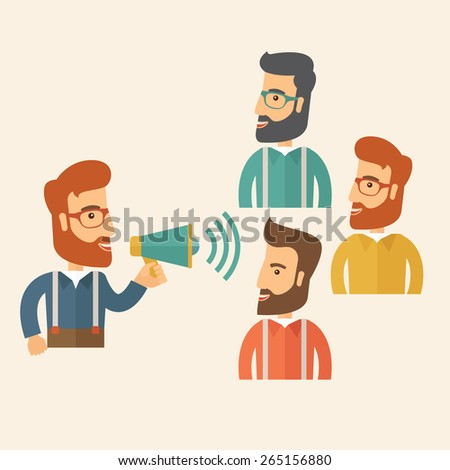 Three hipster Caucasian business people with beard at office smiling together happy listening to their speaker holding a megaphone discussing a business proposal. Business meeting concept.  - stock vector