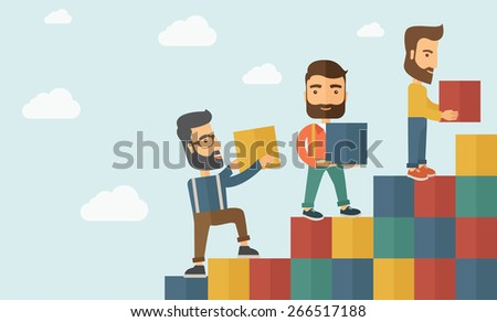 Three hipster Caucasian men with beard carrying blocks putting one by one going up as a sign of increasing sales. Team building concept.  A contemporary style with pastel palette soft blue tinted - stock vector