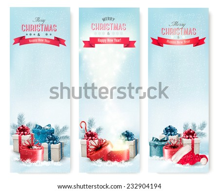Three holiday Christmas banners with presents. Vector.  - stock vector