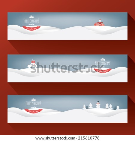Three horizontal christmas landscape banners for websites or newsletters. Eps10 vector illustration. - stock vector