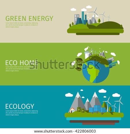 Three horizontal ecology flat banner set with titles green energy eco home and ecology vector illustration