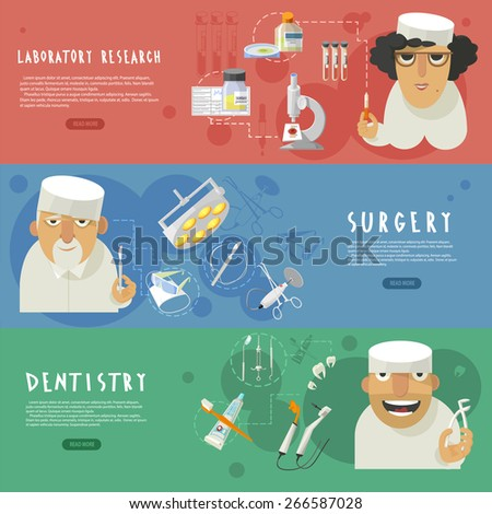 Three horizontal medical care banners with laboratory research surgery and dentistry infographic elements flat abstract vector illustration - stock vector