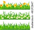 Three horizontal seamless patterns with grass and flowers - stock vector