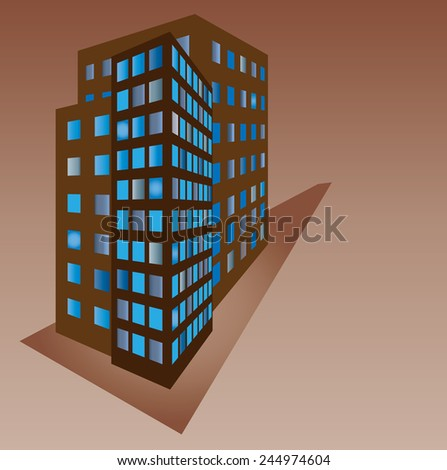 Three houses with glowing windows on a brown background. Vector illustration.