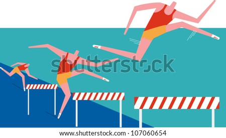 Three hurdlers race in a track meet - stock vector