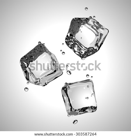 Three ice cubes in black and white. Vector illustration. EPS10. - stock vector