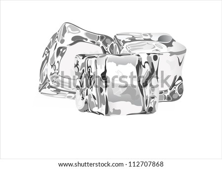 Three ice cubes on white background. - stock vector